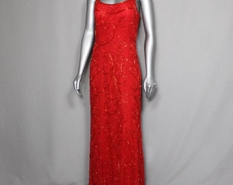 Fire Red Beaded Evening  Proms Parties Formal Weddings 2017 Gown