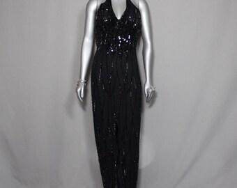 Black Beaded Halter Formal Halter Gown Holidays Parties