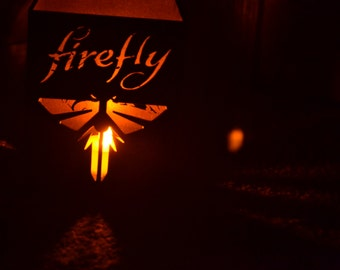 """Firefly Serenity """"You can't take the sky from me"""" inspired square wood lamp with tea light"""