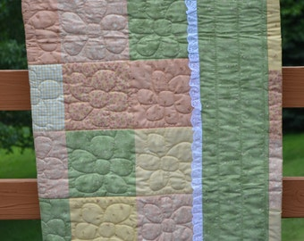 Girly Girl Baby Quilt (orange, yellow, green)