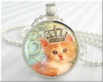 cat necklace cute kitten crown princess cat
