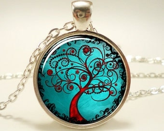 tree of life picture pendant forest necklace