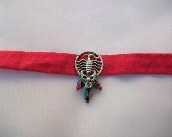 Red scorpio choker necklace