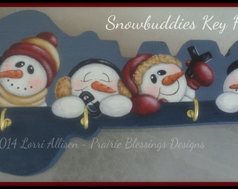 Snowmen wood Key Holder painting pattern packet instant download
