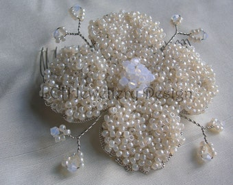 Bridal Hair Comb  - Large Flower - Handmade with Swarovski Crystal & Toho Seed Beads