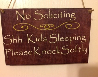 No soliciting/kids sleeping/do not disturb/twins sleeping/ please knock softly/ sign primitive wood hand painted