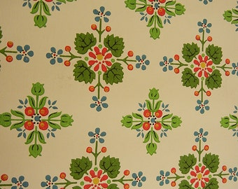 Vintage 1950s wallpaper roll with flower design