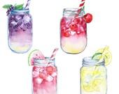 Watercolor Lemonade Clipart - digital printable clipart  - 300 dpi PNG, transparent background