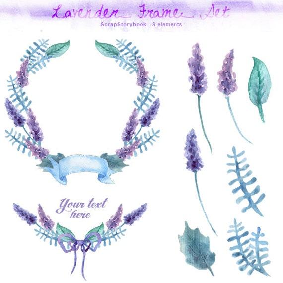 Lavender Frame Set - digital printable clipart - handmade watercolor ...