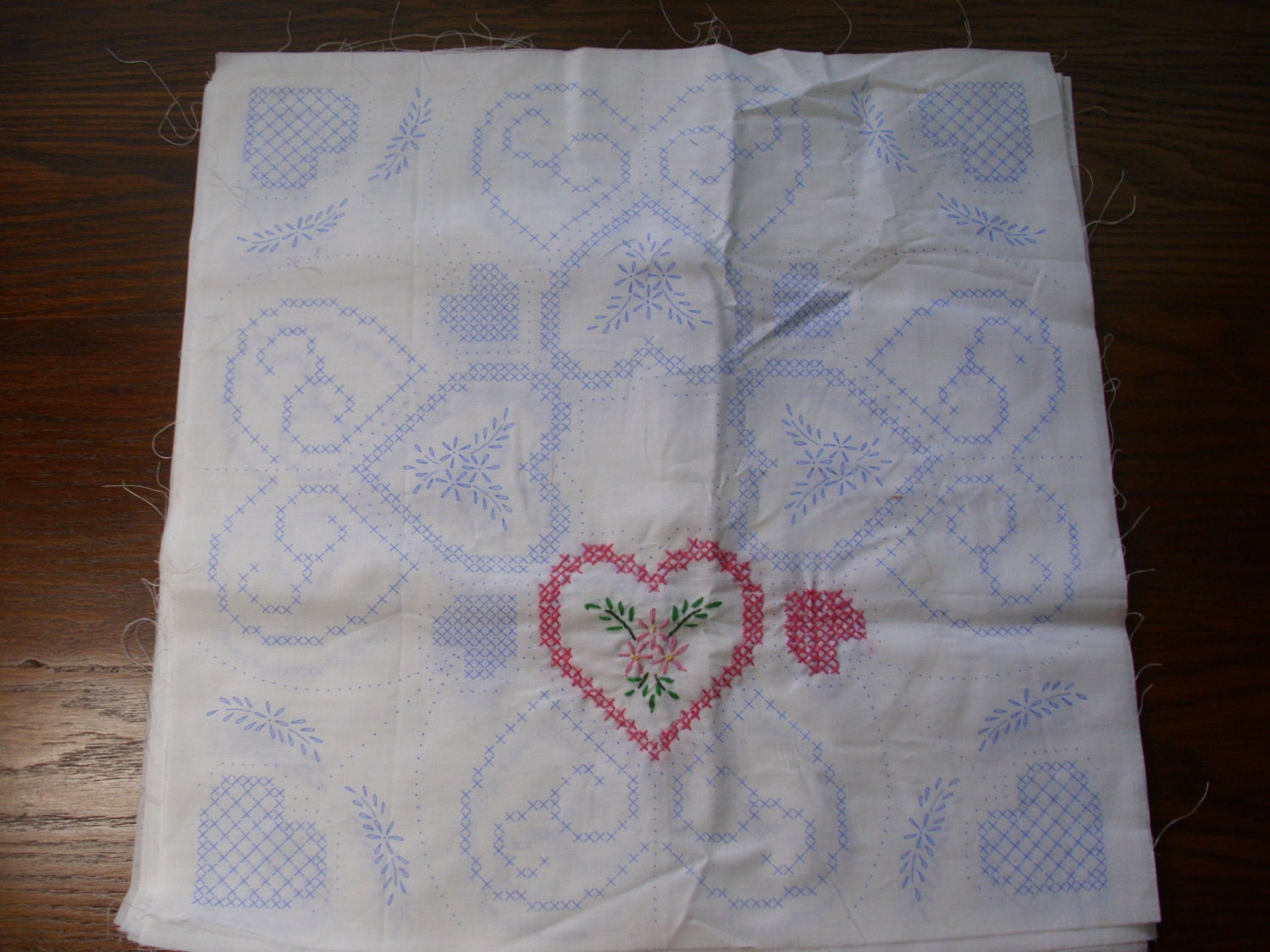 Vintage stamped quilt blocks embroidery heart