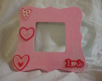 Hand painted pink hearts picture frame.