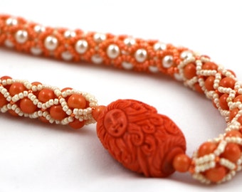Mermaid Tubular Netting Necklace and Earrings in Orange and Cream