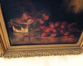 RESERVED Berry Basket Still Life, Oil on Canvas with Gesso Frame