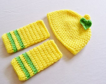 Baby Lemon Hat & Leg Warmers Set- 0 to 3 Months, 3 to 6 Months, 6 to 12 Months - Yellow, Green - Fruit