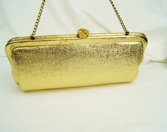 Vintage Gold Metallic Clutch Purse with Chain Handle