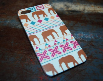 African Elephant Phone Case For iPhone 6 / (4.7) / 4.7 / 5c / 5s / 5 / 4s / 4 Hard Plastic Africa Indian India Primitive Cell Cases c54