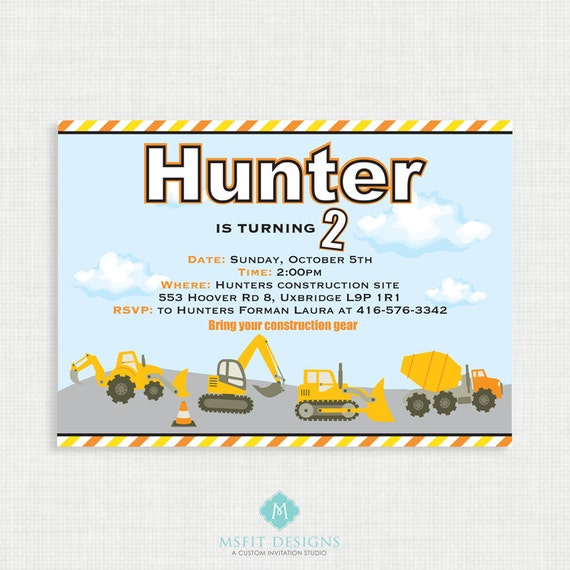 Printable Birthday Invitation- Construction Birthday Invitation, Construction Truck Birthday Party Invitations, DIY,  Printable Template