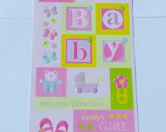 New for Scrapbooking Embossed Stickers  Baby Girl