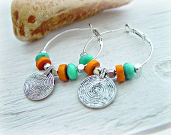 Boho Earrings - Hippie Earrings - Hippie Hoop Earrings - Boho Jewelry - Boho Hoop Earrings - Coin Earrings