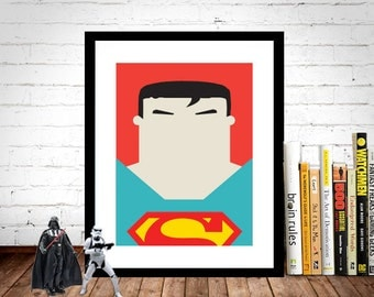 Superman Poster, Superman Print, Superhero Poster, Movie Poster, Film Poster, Wall Print