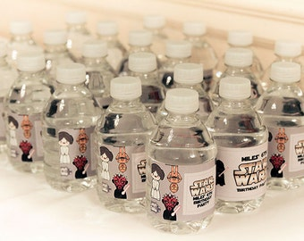 Star Wars party theme bottle labels