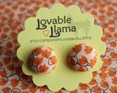 Fabric Button Earrings - Orange Leaves