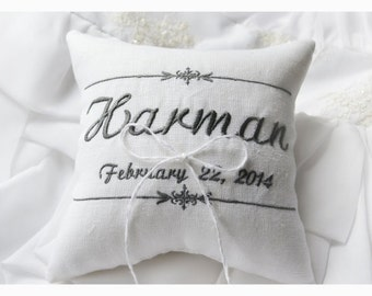 Wedding Ring bearer pillow , wedding pillow , wedding ring pillow, Personalized Custom embroidered ring bearer pillow (R53)