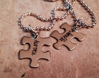 SALE!!!!  SET of 2 puzzle piece necklaces hand stamped personalized jewelry best friends wedding you complete me