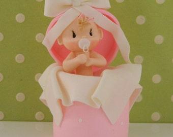 Surprise Baby Girl Shower Cake Topper Decoration