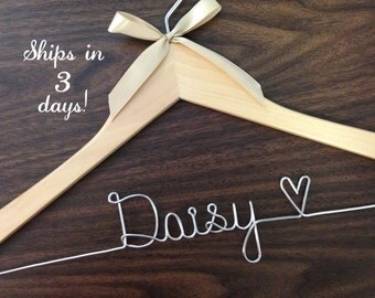 Ships in 1-3 days, ships Priority mail in US, wedding hanger, bride gift, Wire wrapped hanger, personalized hanger, bride hanger, bridesmaid