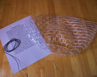 Heavy duty clear rubber replacement fishing net for  landing net; Available in 41 inch and 47 inch circumferences