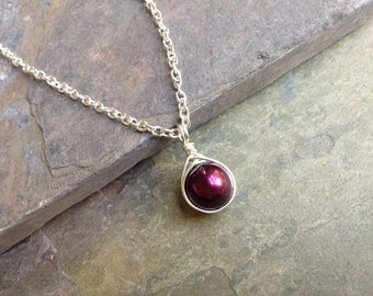 Silver Pearl Necklace, Burgandy Pearl Necklace, Christmas Gift, Bridesmaid Necklace, Wedding Jewelry