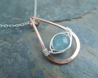 Aquamarine Necklace, Copper and Silver Necklace, Copper Pendant Necklace, Gemstone Jewelry, March Birthstone Necklace
