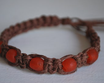 Orange Sea Glass Beads on Soft Brown Hemp Anklet