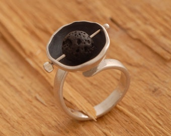 Lava Stone Ring, Natural Stone Sterling Silver Ring, Oxidized Silver Jewelry, Tribal Jewelry Designs D2047