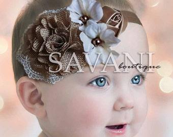 Baby Headband , Mocha ivory shabby chic baby headband, pink flower headband, baby girl headband, newborn toddler headband