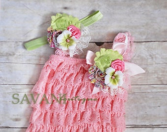 baby lace outfit, 3pcs set, pink green lace romper set. Lace Petti Romper , headband and clip, Baby Girl Photo Prop