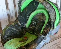 Mossy Oak Camo w/lime green minky Car seat cover and hood cover w/ matching headsupport and strap covers bundle 1 pictured