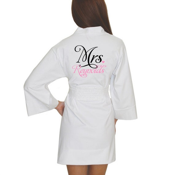Personalized Mrs. Darling Bridal Robe for the wedding, honeymoon or lounging