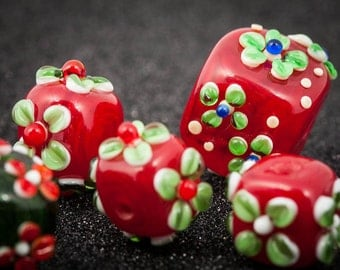 Christmas Hollow Lampwork Beads in Holiday Colors