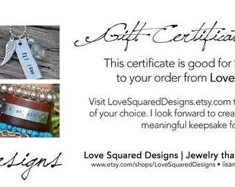 Gift certificate in denomination of your choice