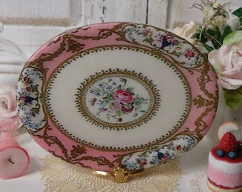 Sèvres Peach Floral Porcelain Dollhouse Miniature Tray in 1:12 Scale