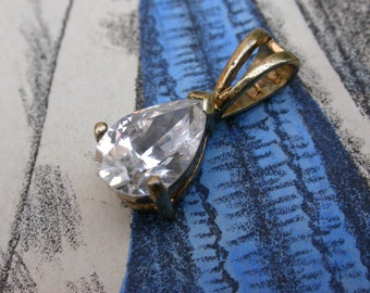 French vintage   sterling silver 18k gold vermeil ornate  diamond cz faceted teardrop pendant