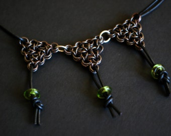 Chainmaille Necklace, Chainmaille Jewelry, oxidized Silver, Glass Bead Jewelry
