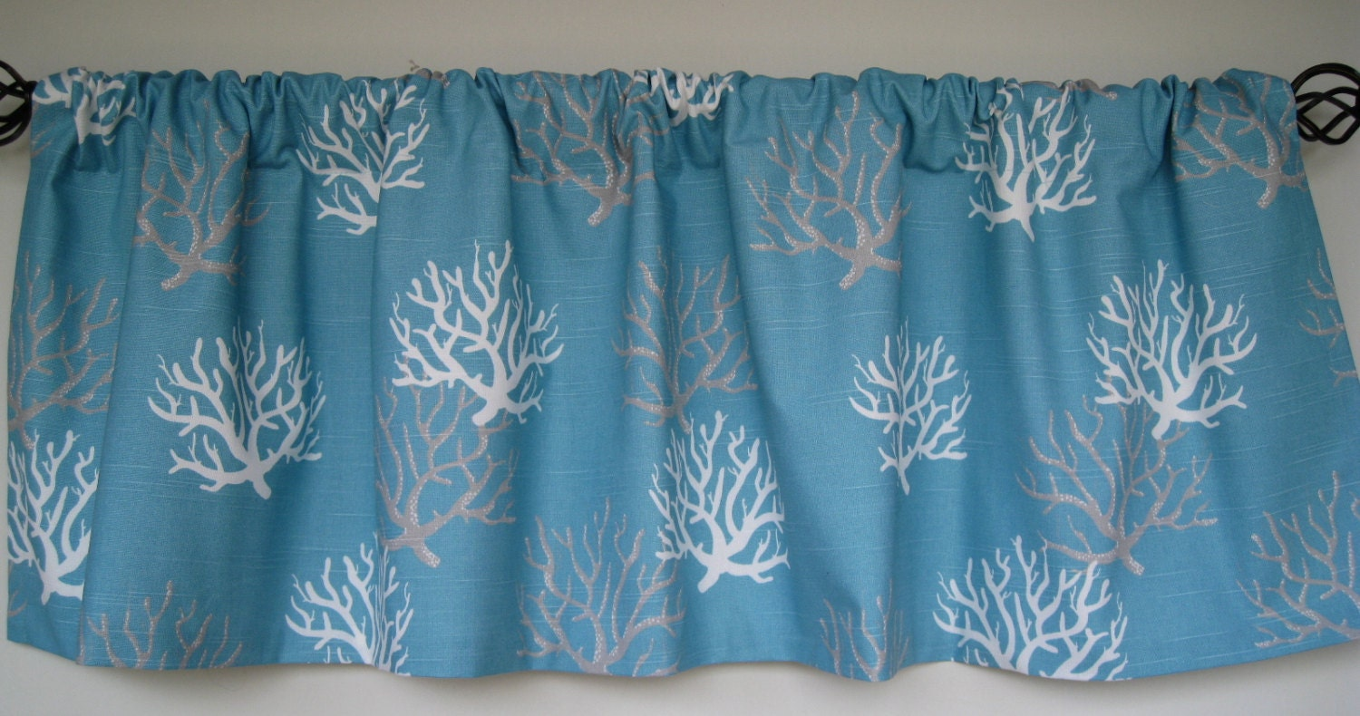 52x16 Valance. Isadella Coral Coastal Blue Valance. Beautiful