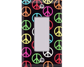 Colorful Peace Signs Rocker/GFI Cover
