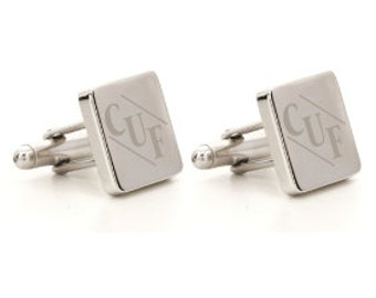 Silver Personalised Monogram Square Cufflinks