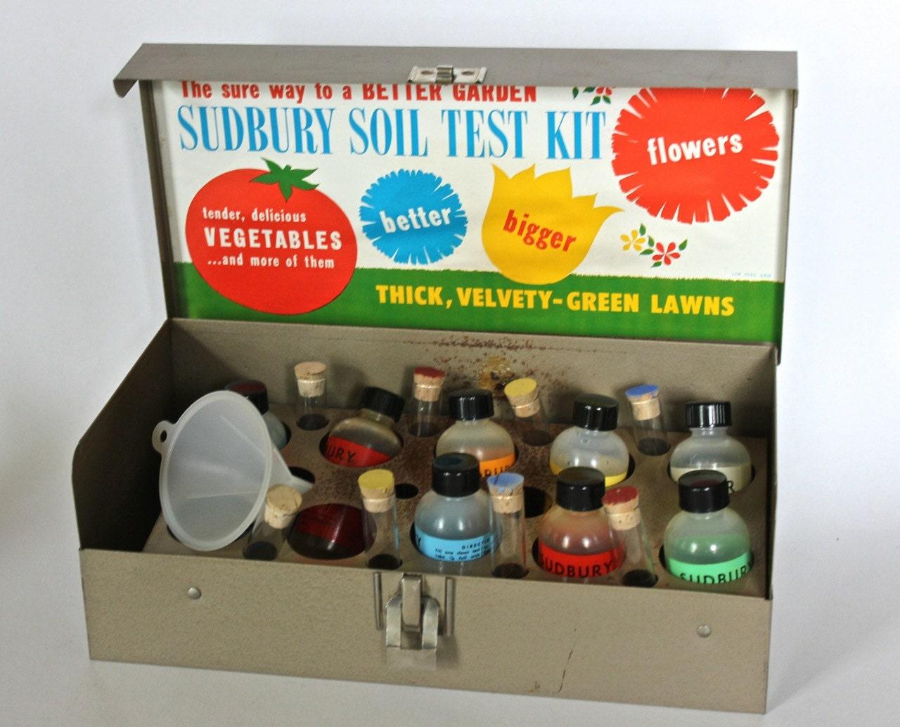 vintage industrial display sudbury soil test kit steel box. Black Bedroom Furniture Sets. Home Design Ideas