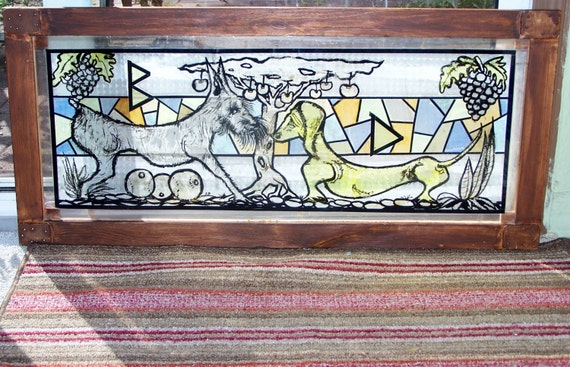 Stained Glass Look/Faux Skylight Wood Framed Sun Catcher of Two Arts & Crafts Dogs Under Tree at Sexy Trash & Vintage on Etsy