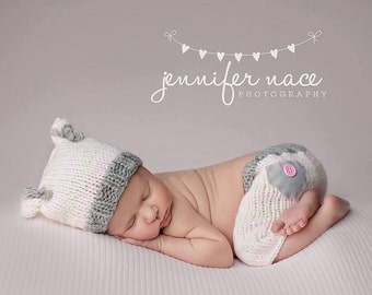 Newborn Kitty Set//Newborn Photo Prop//Newborn Girl Hat & Shorts//Pink//White//Stripes//Animal Hat//Newborn Pants//Newborn Prop//Newborn Hat